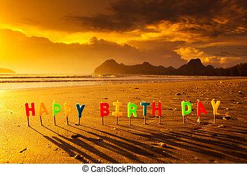 Candele, compleanno, spiaggia, colorito, Felice