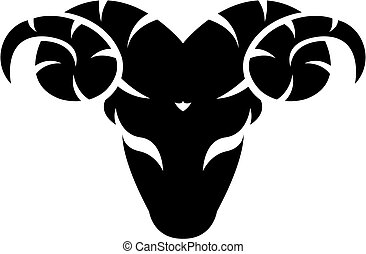 Black zodiacs aries - Black aries isolated on white