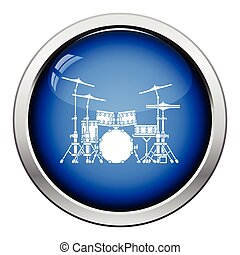 Drum set icon Glossy button design Vector illustration