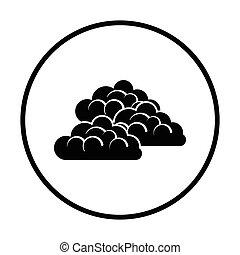 Cloudy icon Thin circle design Vector illustration