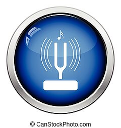 Tuning fork icon. Glossy button design. Vector illustration.