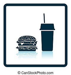 Fast food icon Shadow reflection design Vector illustration...