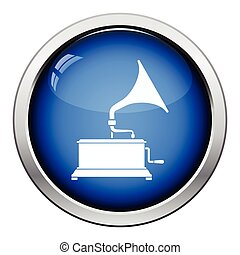 Gramophone icon Glossy button design Vector illustration