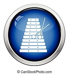 Xylophone icon. Glossy button design. Vector illustration.