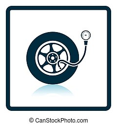 Tire pressure gage icon Shadow reflection design Vector...