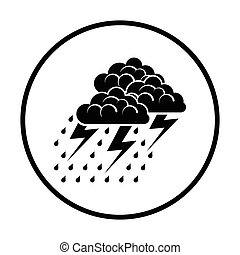 Thunderstorm icon. Thin circle design. Vector illustration.