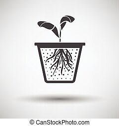 Seedling icon on gray background with round shadow Vector...