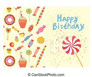 Birthday card with sweets - funny design, vector graphic...