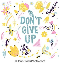 Don't give up motivation card with nature elements, vector...