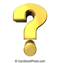 question mark, help symbol in gold (3d) - question mark,...