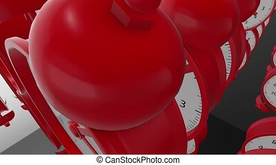 Moving rows of Alarm clocks in red