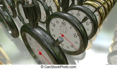 Moving rows with stopwatches,chronometers in golden and...