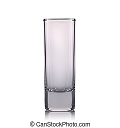 Empty cocktail shot glass on a white background