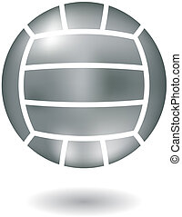 Metallic volleyball - Glossy line art metallic volleyball...
