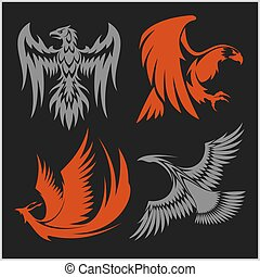 Flying eagle, peacock and pheasant vector logo icons showing...