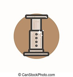 Line icon of aeropress - Vector icon of aeropress. Icon is...