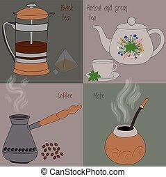 Set of tea and coffee, green and herbal tea, black tea,...