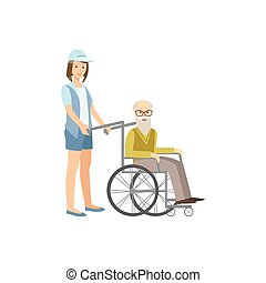 Volunteer Rolling Old Man In Wheelchair Flat Illustration...