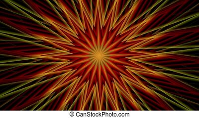 Rotating sunburst in dark red and yellow colors
