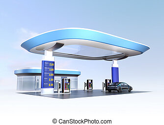Modern gas station with EV supply - Contemporary EV charging...