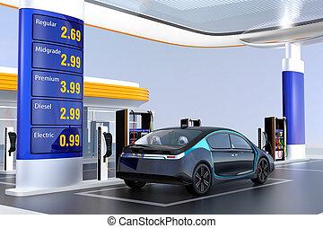 EV charging at charging station - Electric vehicle charging...