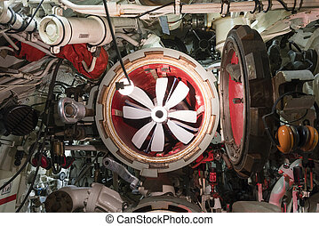 Torpedo tube of submarine, view from inside