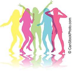 Beautiful women dancingColored silhouettes