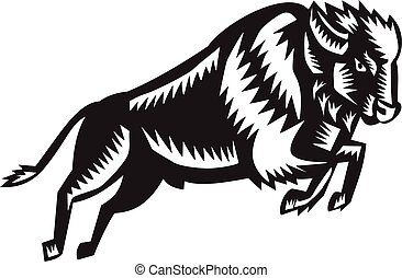 American Bison Buffalo Jumping Woodcut - Illustration of an...