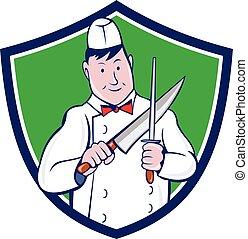 afilado, cresta, carnicero, cuchillo, caricatura