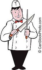 afilado, carnicero, cuchillo, caricatura