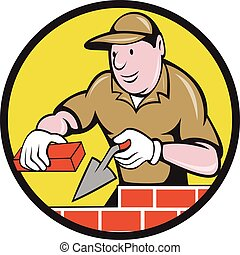 Bricklayer Bricks Trowel Circle Cartoon - Illustration of a...