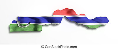 Silhouette of Gambia map with flag - 3d rendering of Gambia...