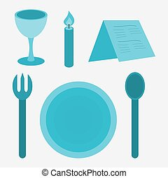 restaurant table setting with common set