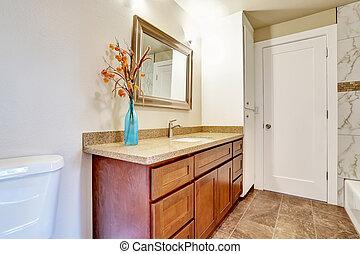 cuarto de baño, mostrador, gabinete, cima, interior,...