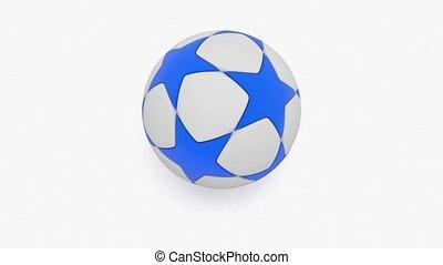 Rotating soccer ball on white