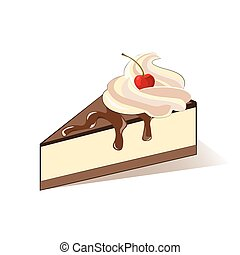 Cake slice with cream and cherry. Vector
