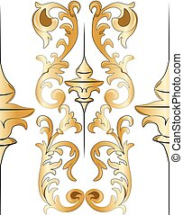 Royal floral golden ornament element pattern