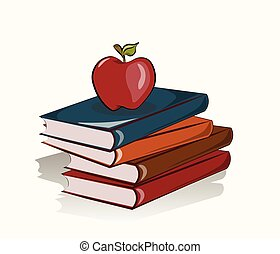 Books and apple background