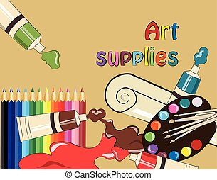 Art supplies for school or college. Vector