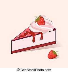 Cake slice with strawberry cream. Vector