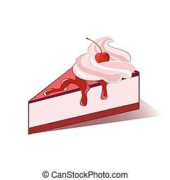 Cake slice with cherry cream. Vector