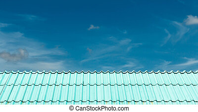 Architectural detail of the metal roof of the commercial...