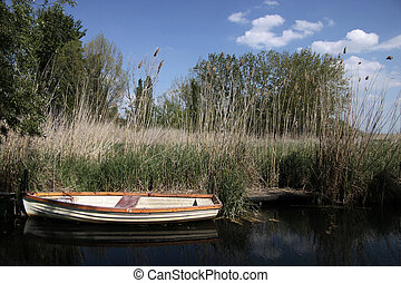 Small boats at Lake Balaton - Small boats near Szigliget at...