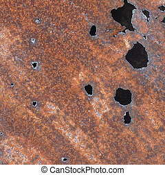 Sheet iron with holes of corrosion - Sheet iron with holes...