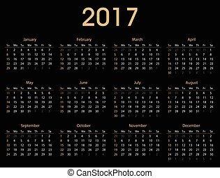 Simple 2017 calendar template for commercial and private use...