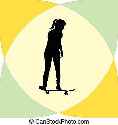 girl rides a skateboard