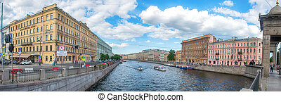 View of St. Petersburg. Embankment of Fontanka River - The...