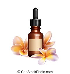 Realistic essential oil bottle and frangipani flowers
