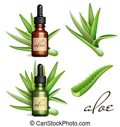 Realistic Aloe Vera and essential oil bottle. Cosmetic vial,...