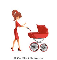Young mother pushing the pram